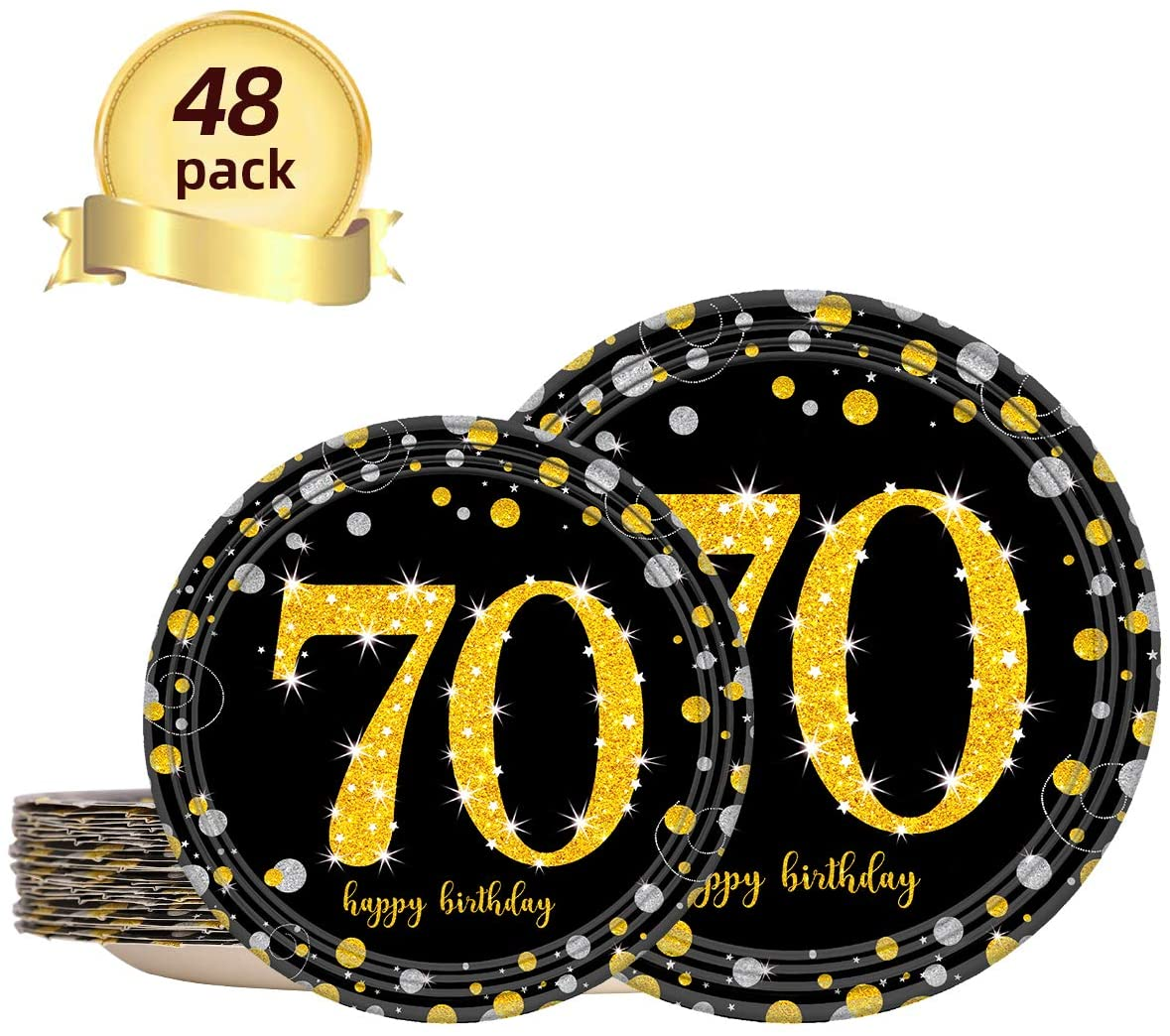 Trgowaul 70th Black and Gold Birthday Decorations Party Supplies Set for Women or Men, 24 Disposable 9 x 9 Inches Paper Dinner Plates, 24 Paper 7 x 7 Inches Dessert Plates for 24 Guests