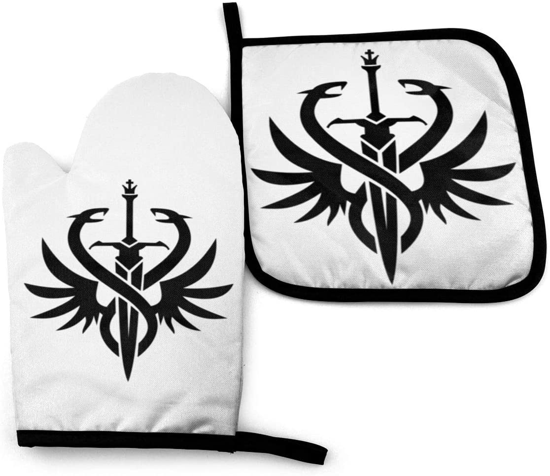 Zsdafghkkk Knight Anime Oven Mitts and Pot Holders Sets Anti-Scalding and Heat Insulation