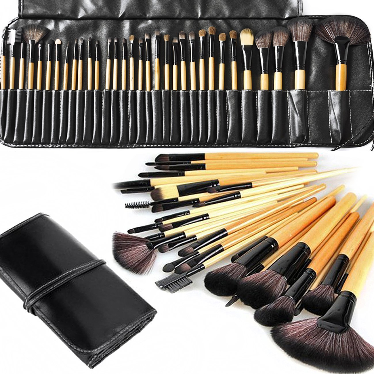 Black Label Beauty Makeup Brush Set for Cream Liquid and Mineral Foundation (32pcs) Wood Makeup Brushes with Vegan Leather Case