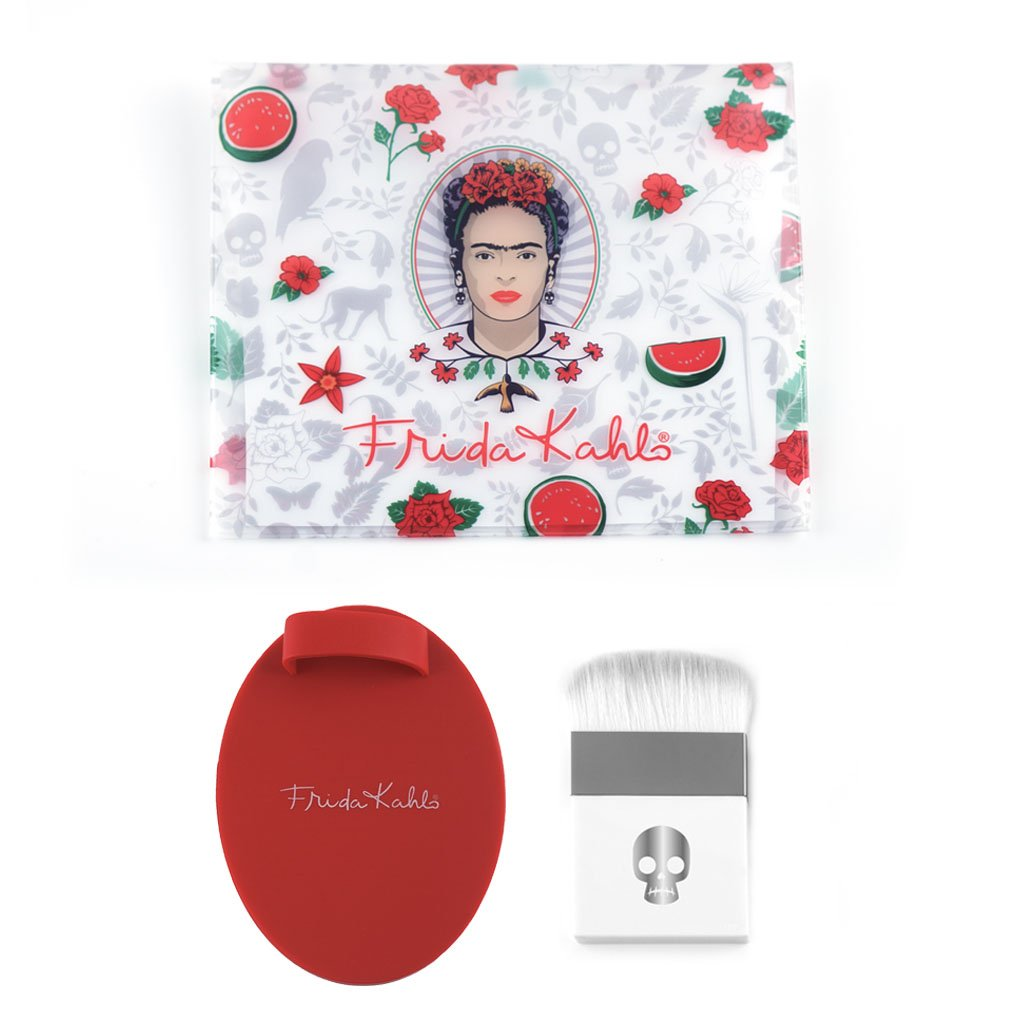 Frida Kahlo Professional Makeup Brush Kit with Flat Contour Highlighter Brush, Brush Cleaner and Cosmetic Bag - LIMITED EDITION