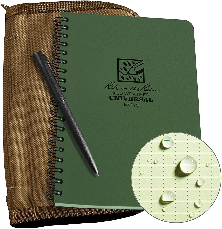 Rite In The Rain Weatherproof Side Spiral Kit: Tan CORDURA Fabric Cover, 4.625