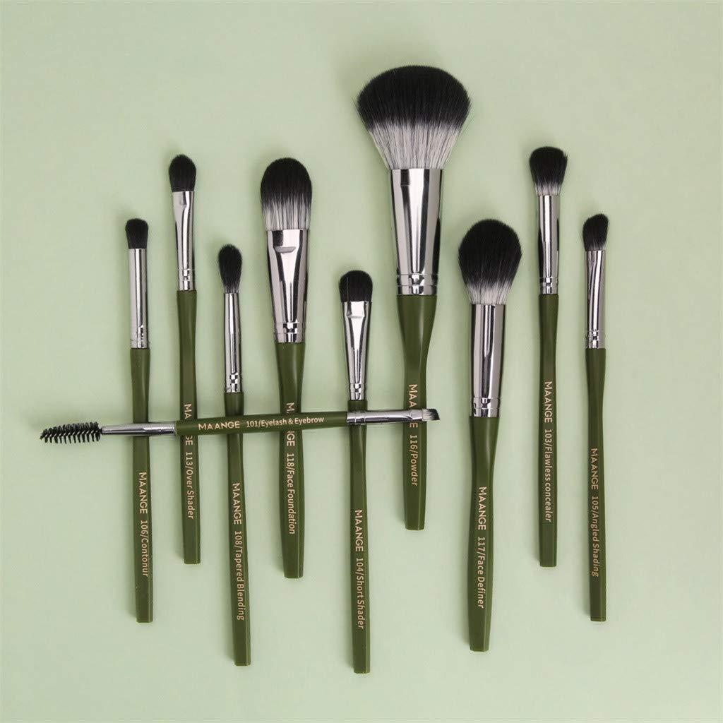 Makeup Brushes Set, 10 pcs Premium Makeup Brush for Foundation Powder Concealers Eye Shadows Blush, Soft Synthetic Fiber Bristles Cosmetic Brush, Professional Eye Brush Kit (Green)