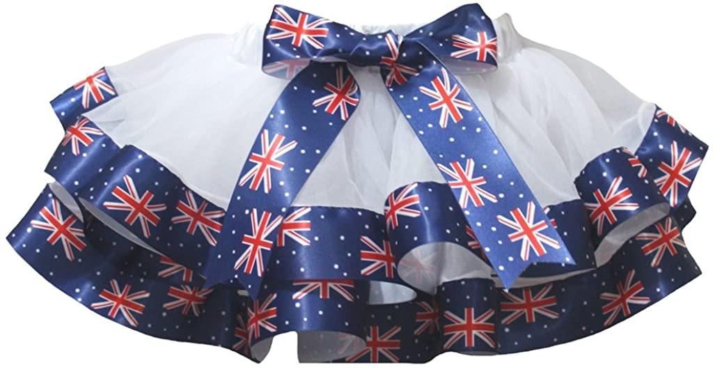 Petitebella White Union Jack Ribbons Petal Skirt Nb-8y
