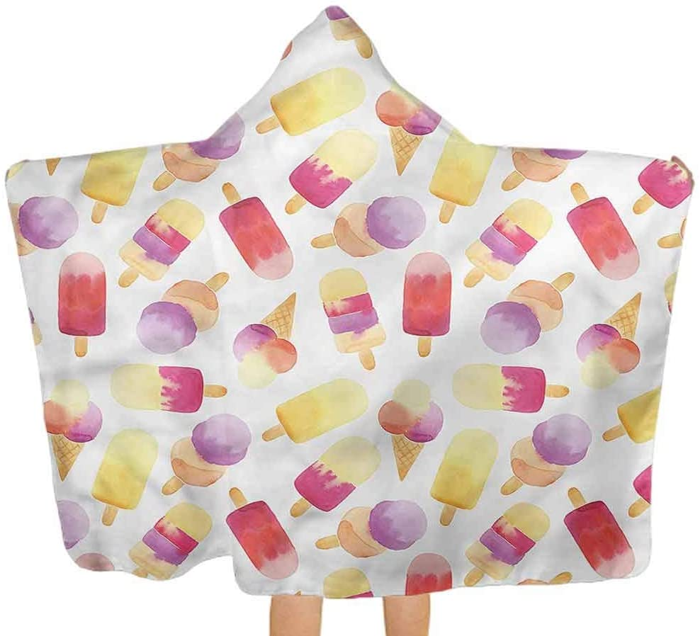 ThinkingPower Hooded Towel Ice Cream, Watercolor Cone Hypoallergenic Baby Towels for Babies, Toddlers 51.5x31.8 Inch