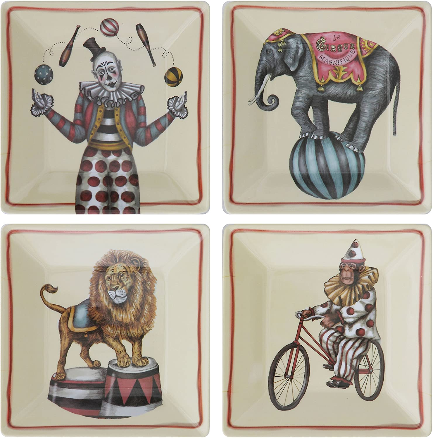 Creative Co-Op Circus Plates, Set of 4 Styles