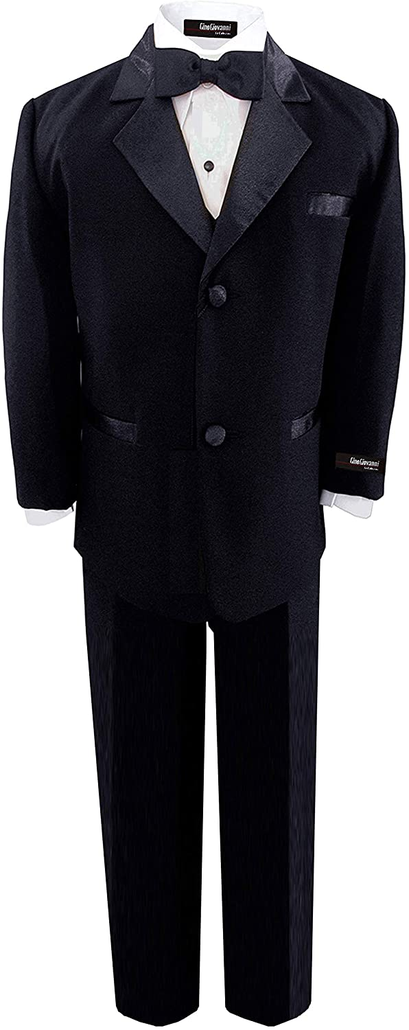 Gino Giovanni Brand Infant Kids Baby Toddler Boys 5 Piece Deluxe Black Tuxedo Suit (Large(18 Months))