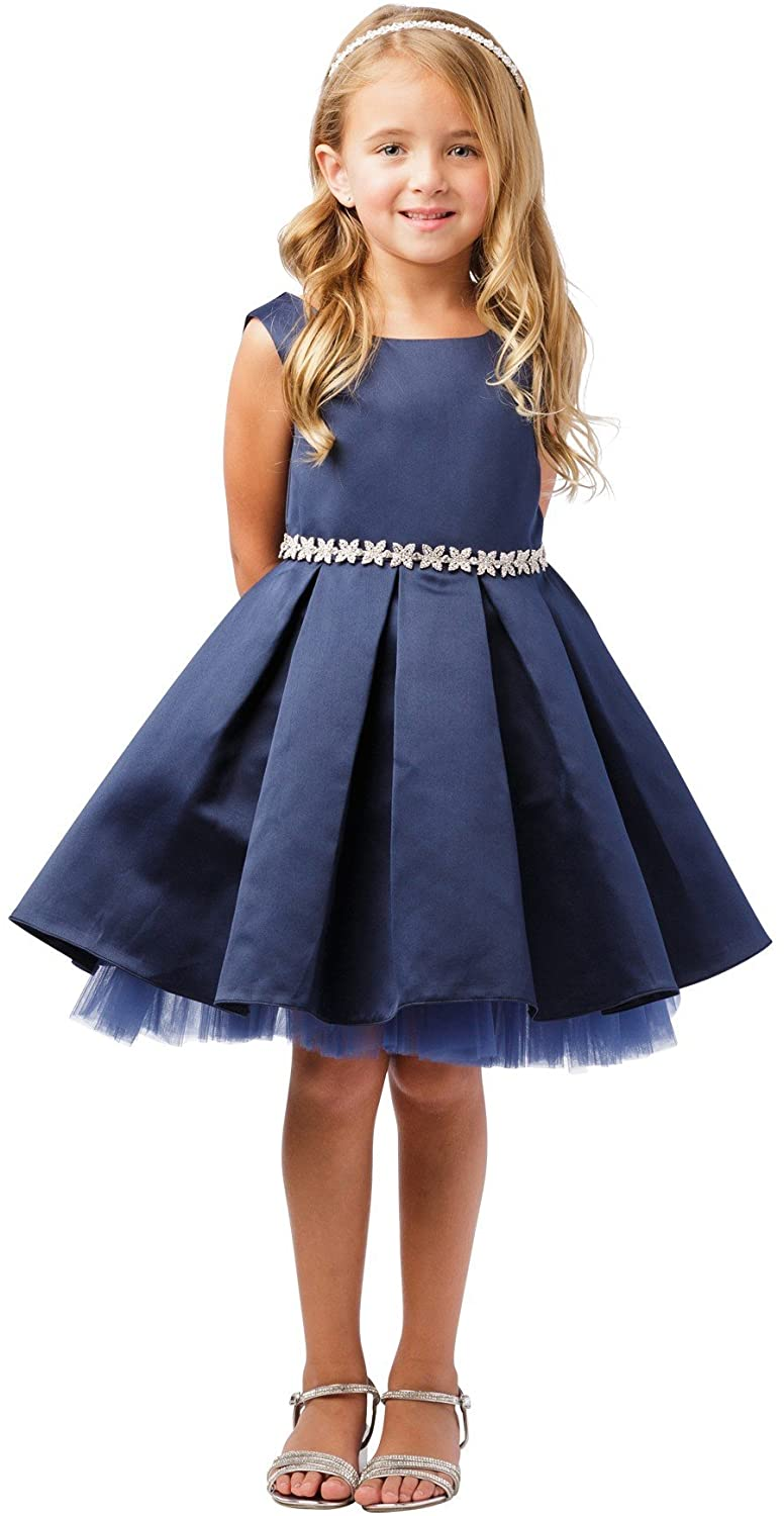 Tip Top Kids Little Girls Navy Rhinestone Tulle Satin Pleated Flower Girl Dress 2-6