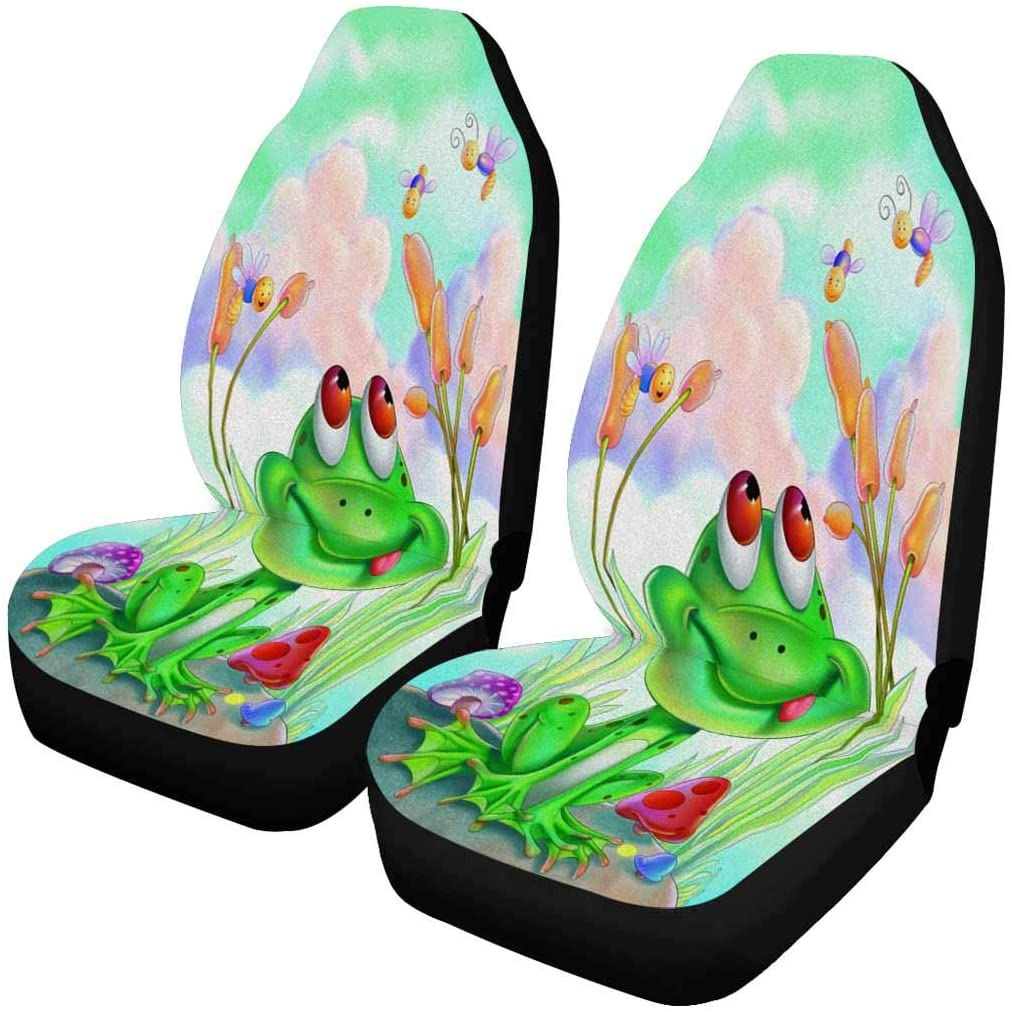 INTERESTPRINT Frog Bee Mushroom Flower Front Car Seat Covers Set of 2, Entire Seat Protection, Car Front Seat Cushion for Pets Running Gym