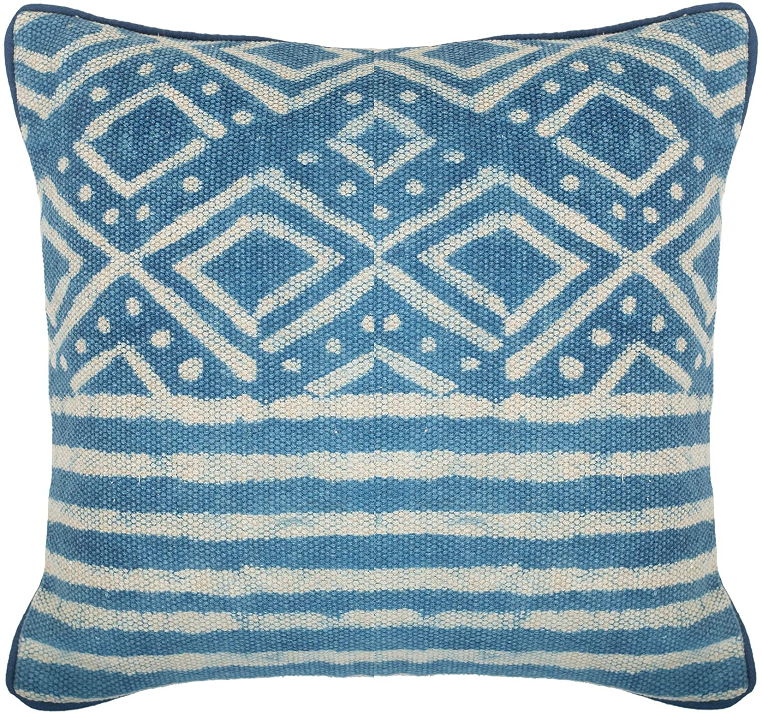 Felicity Weave Indigo Blue Throw Pillow Cover - Handmade Decorative Throw Pillow in Indigo Blue and Cream   Designer Quality Textured Throw Pillow for Couch, Sofa, Bed or Chair   18x18 Inch