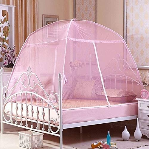 1set Folding Portable Mongolia Mosquito Net Mesh Insect Bed Canopy Curtain Elegant Dome Tent for Girl Baby Bedding Mosquito net (Color : Pink, Size : 120X200cm)
