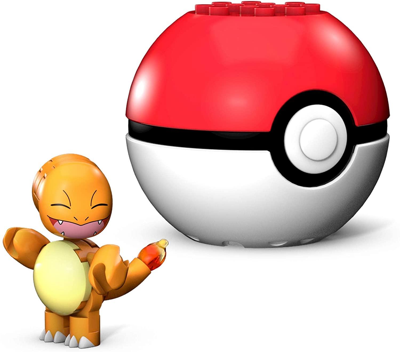 Mega Construx Pokemon Charmander Salameche Poke Ball, Multicolor