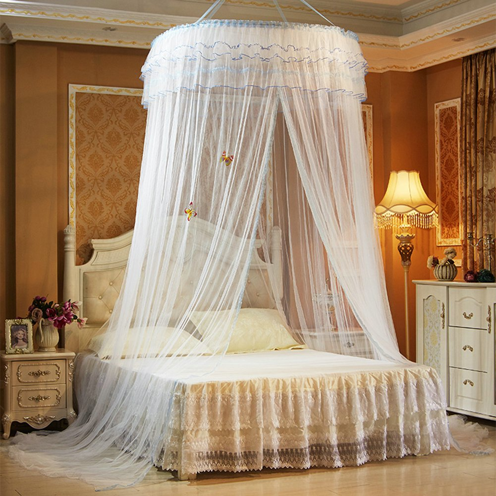 TYMX Princess Dome Suspended Ceiling Mosquito Protection Net Bed Canopy Bedroom Room Lace Mosquito Net (White)