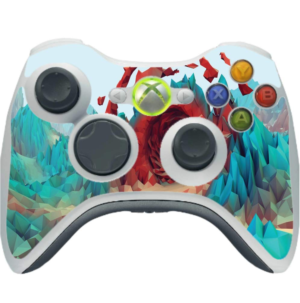 Red Crystal Cave Low Poly Design Vinyl Decal Sticker Skin by egeek amz for Xbox 360 Wireless Controller