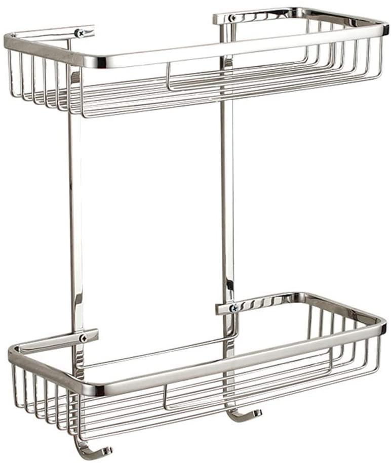 Mr. Bathroom Bathroom Shelf Shower Storage Wall-Mounted Rectangle Basket 2 Tiers 304 Stainless Steel Storage Rack Punch Installation (Size : 320x138x360mm)