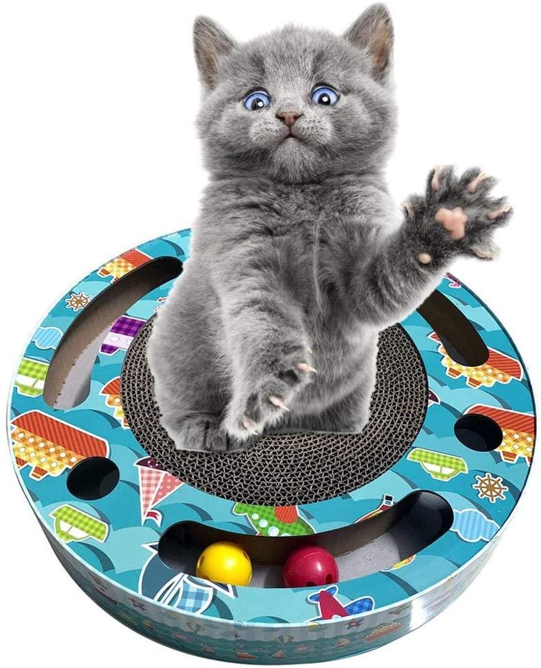 Cat Scratcher Corrugated Cardboard Pads Round Cat Scratching Board with Ball Toy
