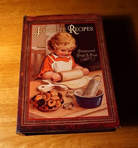 Favorite Recipe Box Retro Style Christmas Cookie Baker Holiday Kitchen Decor