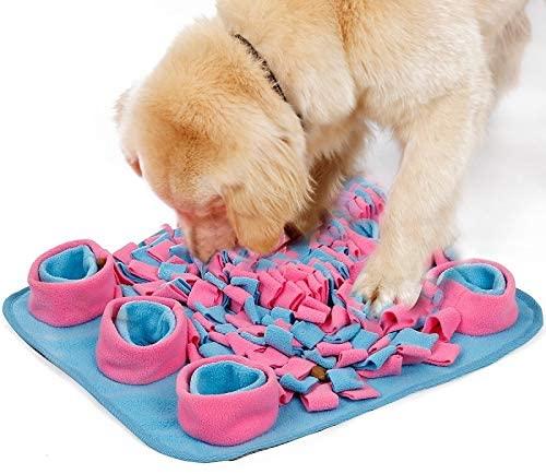 KANEED Doglemi Snuffling Traning Pet Mat Fleece Dog Slow Eating Bowl Mat,Size:45x45CM