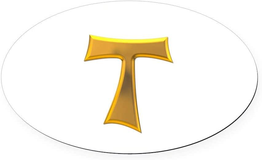 CafePress Golden Franciscan Tau Cross Oval Car Magnet, Euro Oval Magnetic Bumper Sticker