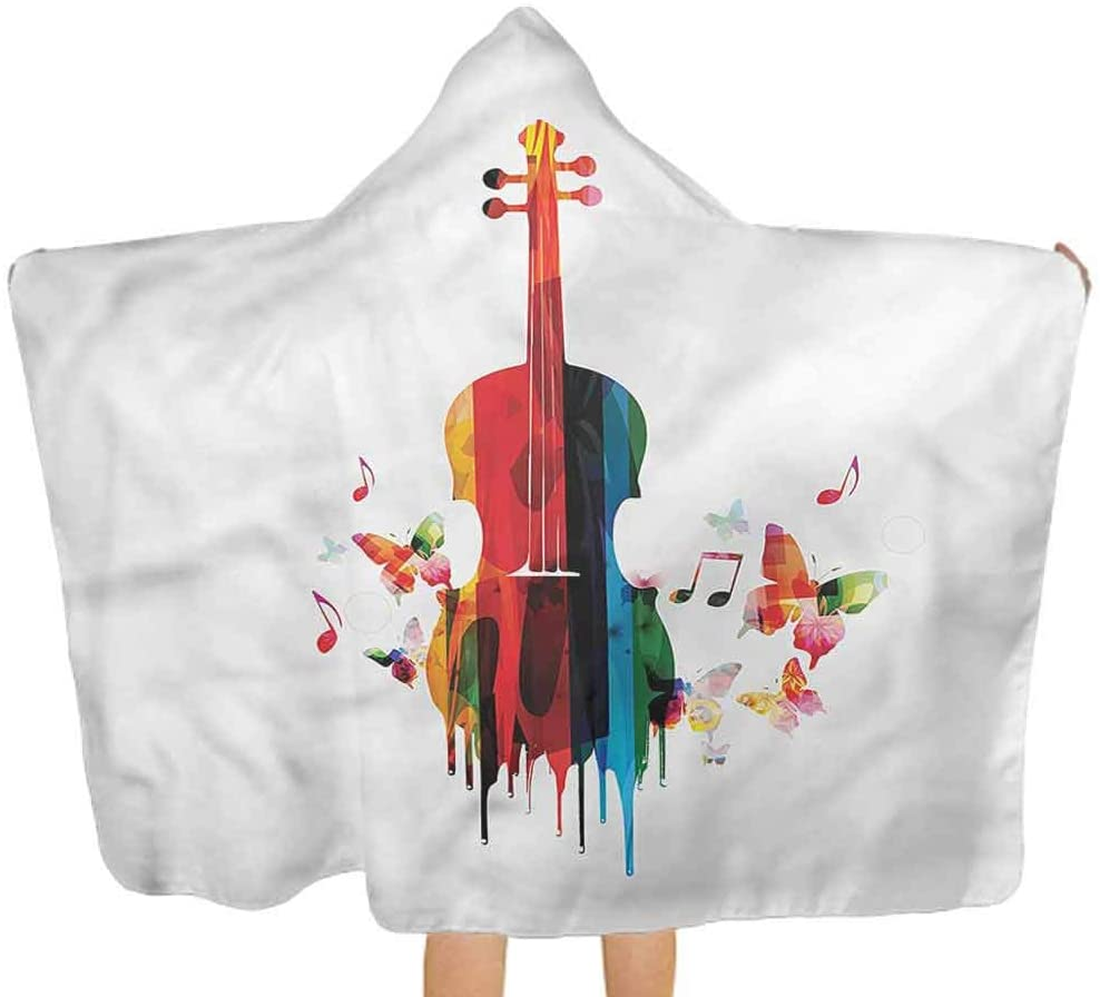 Hooded Baby Towel Violin, Dripping Paint Butterflies Softest Hooded Bath Towel for Babies, Toddlers 51.5x31.8 Inch