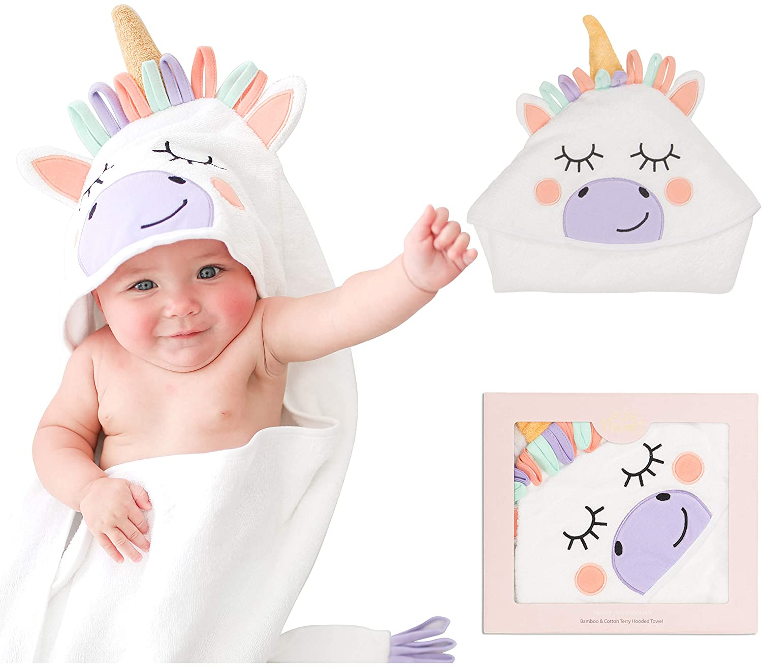 Posh Peanut Baby Hooded Towel – Highly Absorbent Cotton Infant Towel for The House, Beach, Pool – Super Soft Newborn Drying Bath Towel – Great Idea (Unicorn)
