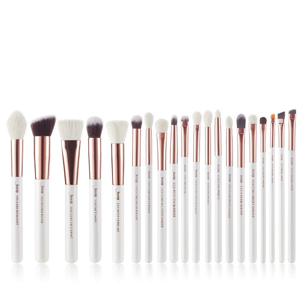 Jessup White Pro Makeup Brush Set, Soft Natural Bristle Foundation Eyeshadow Blending Blusher Buffer Concealer Brush 20pcs T225
