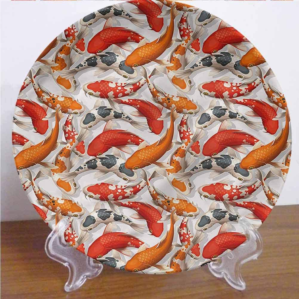 Channing Southey 10 Inch Koi Fish Ceramic Dinner Plate Colorful Fishes Swimming Round Porcelain Ceramic Plate Decor Accessory for Pasta, Salad,Party Kitchen Home Decor