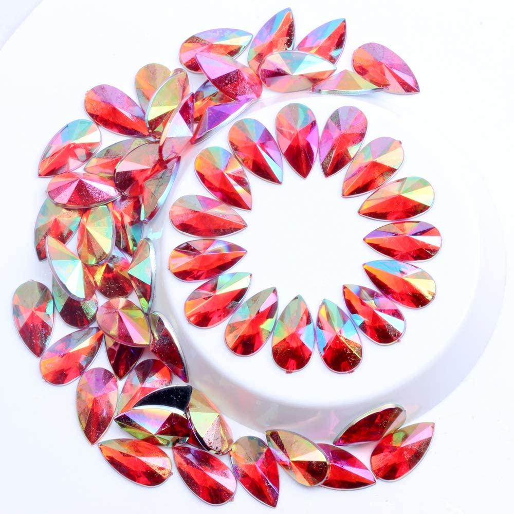 Nizi Jewelry 8x13mm-9x18mm Tear Drop Shape Acrylic Rhinestones RED AB Glue On Flatback Pointed Stones Beads for DIY Crafts Jewelry Making(9X18MM 20PCS)