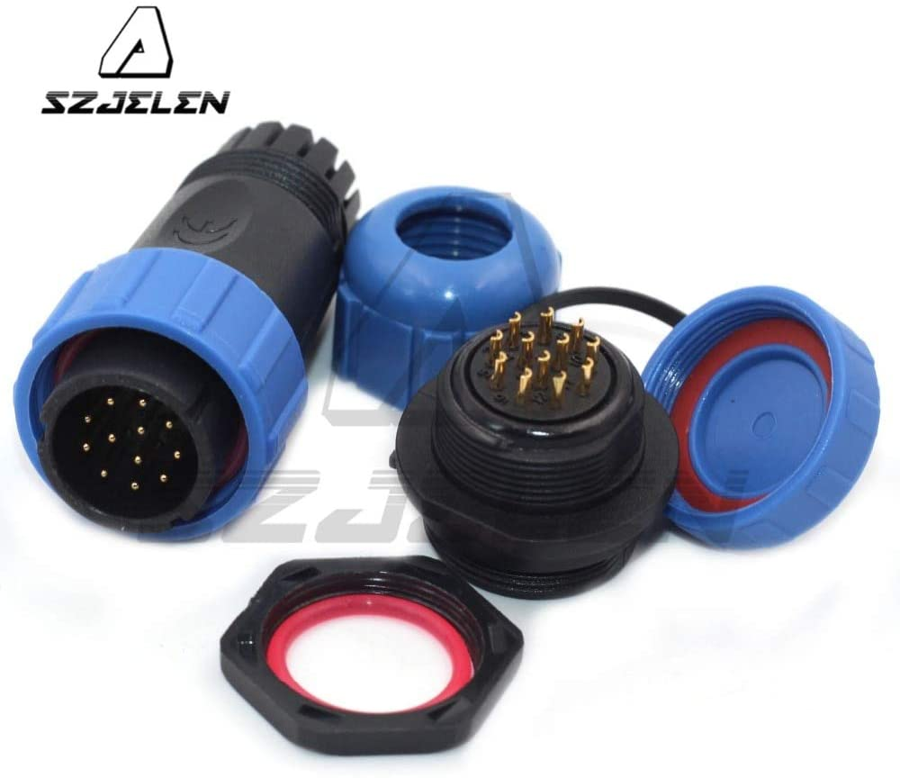 Davitu Electrical Equipments Supplies - SP21 Plug 12pin Socket LED Waterproof Power Cable IP68 Connector 5A
