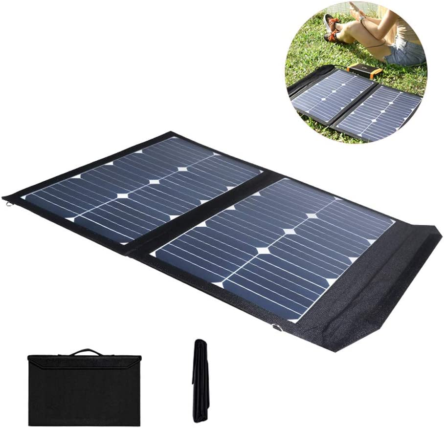 AIZYR 45W Portable Solar Panel Charger with 10PCS Notebook Conversion Head, Foldable Solar Charger Kit for Cell Phone Power Camera Electronic Device