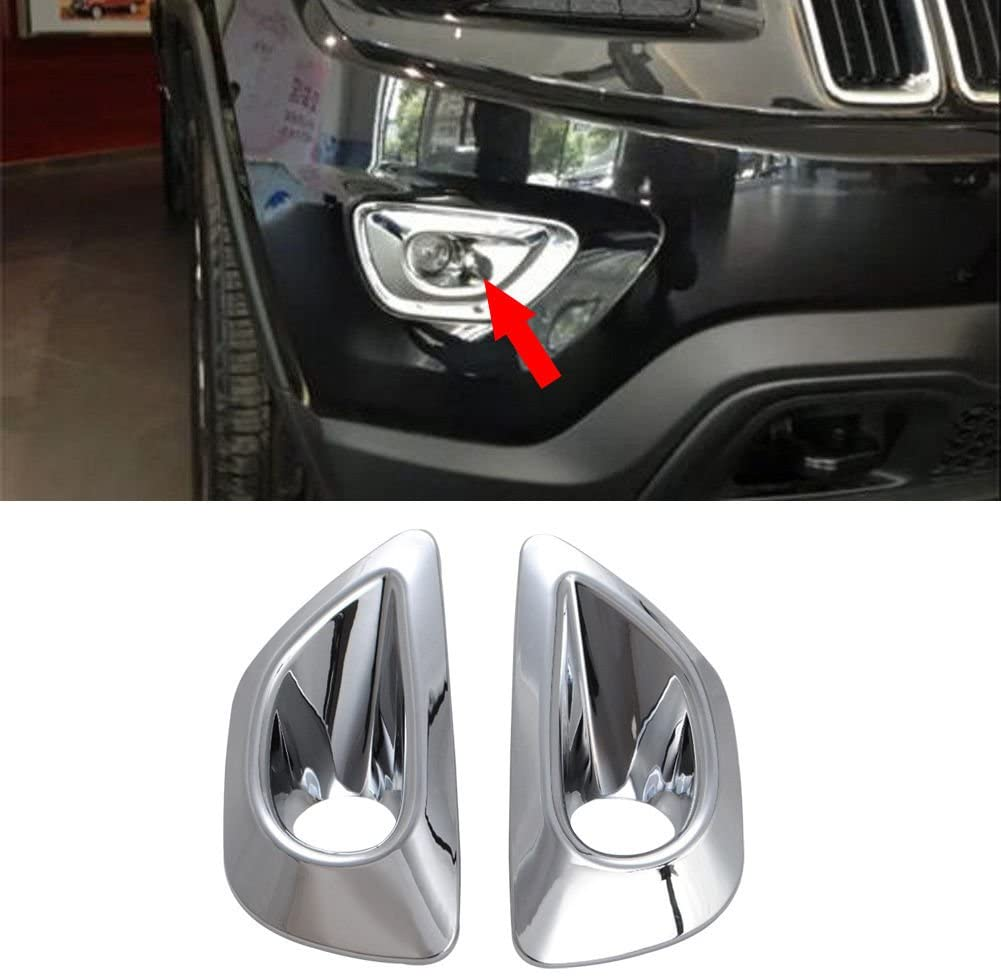 ABS Plating Front Fog Lamp Light Cover Trim For Fit 2014-2016 Jeep Grand Cherokee