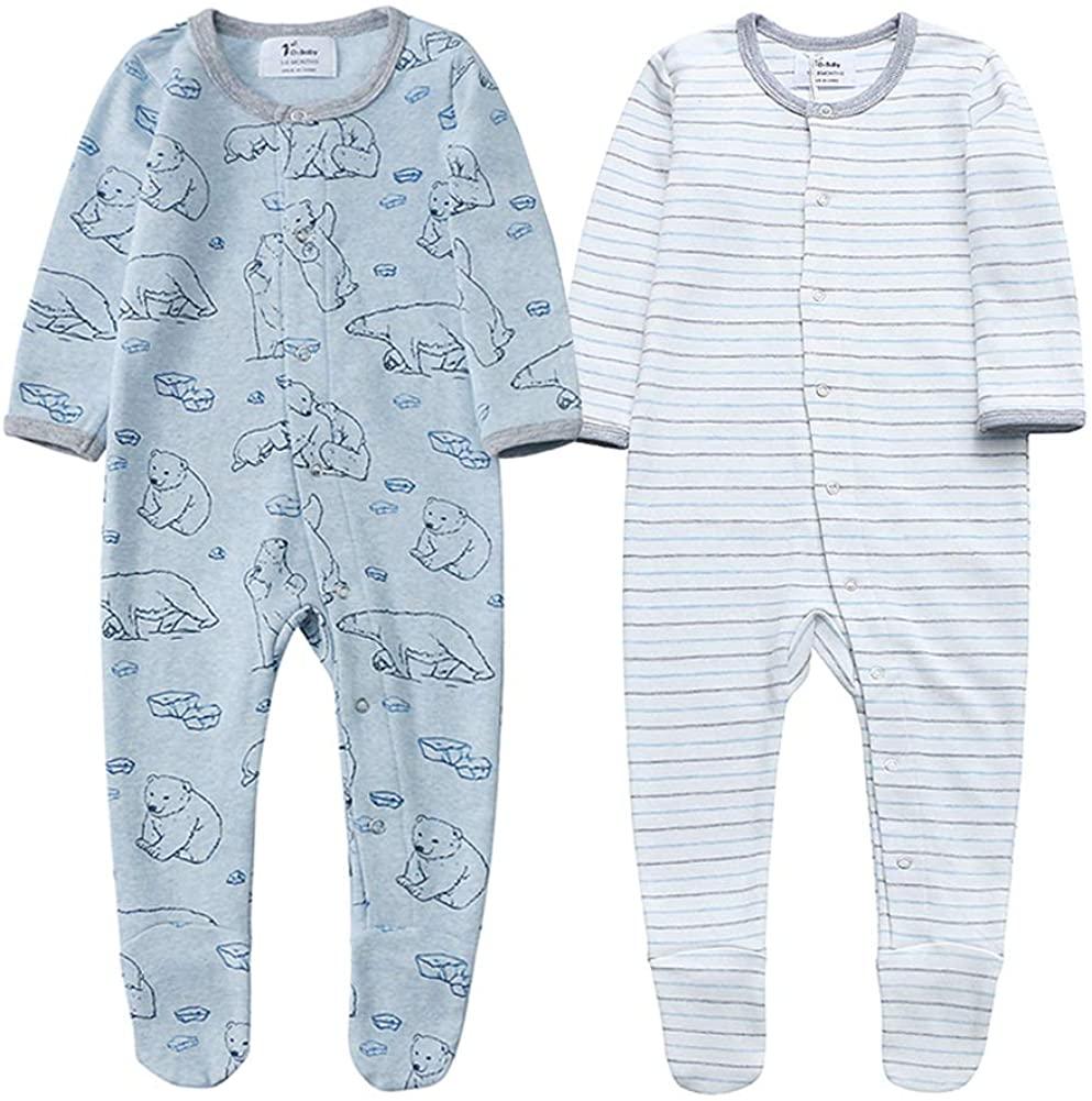 Unisex Baby Organic Cotton Footed Sleep and Play, Long Sleeve Pajamas