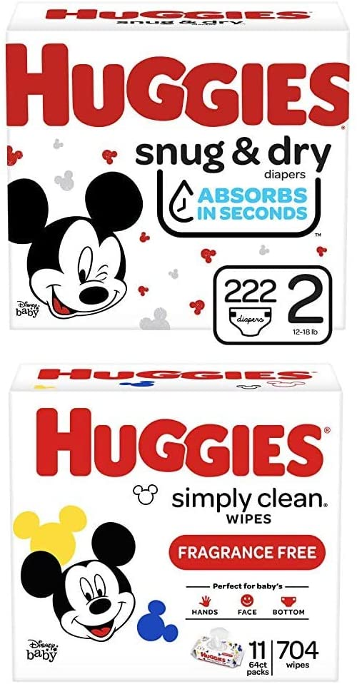 Bundle- Huggies Snug & Dry Baby Diapers, Size 2, 222 Ct, One Month Supply & Huggies Simply Clean Unscented Baby Wipes, 11 Flip-Top Packs (704 Wipes Total)