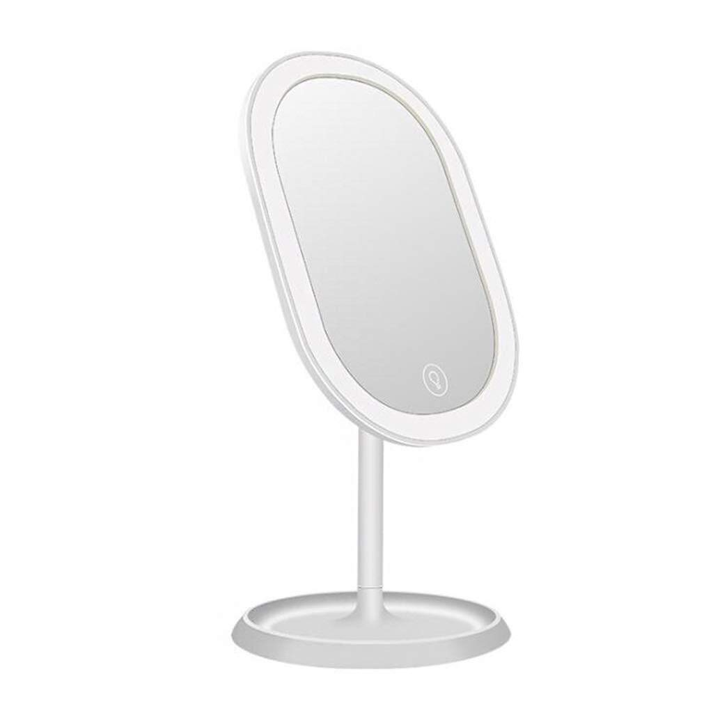 LED Makeup Vanity Mirror, Dimmable Countertop Cosmetic Mirror Choose Between Soft Warm Natural Daylight, Or Neutral White Lights (Size : White)