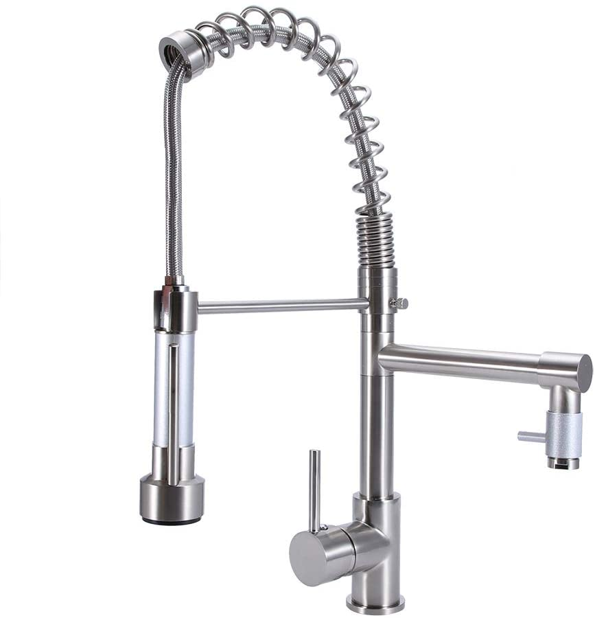 Kitchen Water Faucet, Modern Pull Out Kitchen Mixer Water Tap Dual Spout Spray Single Lever Chrome for Kitchen and Bathroom, US G3/8