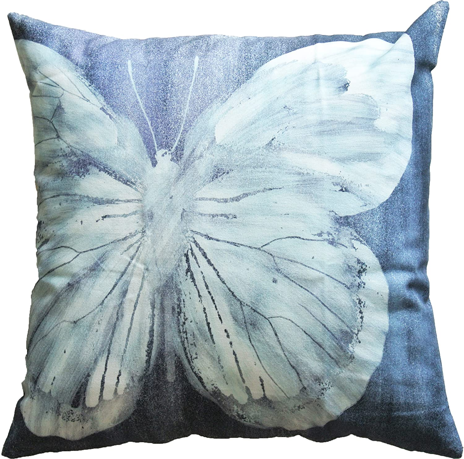 HOMETALE Butterfly Laser Print Decorative Throw Pillow Cover 18 Navy White