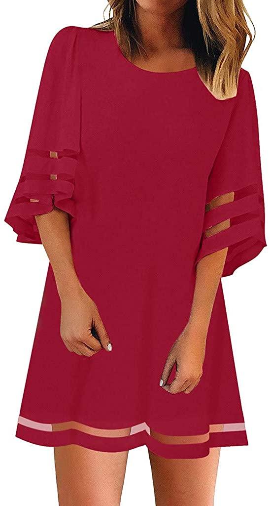 ZEFOTIM✿Women's O Neck Mesh Panel Blouse 3/4 Bell Sleeve Loose Top Shirt Dress