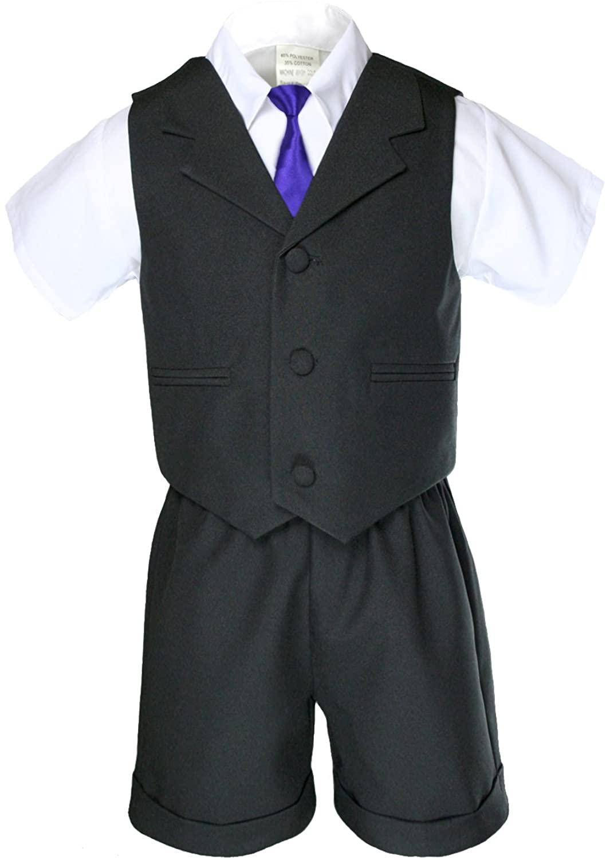 Unotux Boys Black Short Vest Sets Suit Outfits Extra Purple Necktie Baby Toddler