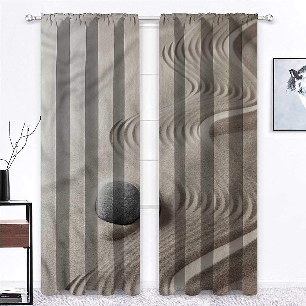 GugeABC Patio Door Curtains Spa Print Window Panel Set Sand with Meditative Stones 55 x 45 Inch (2 Panels)