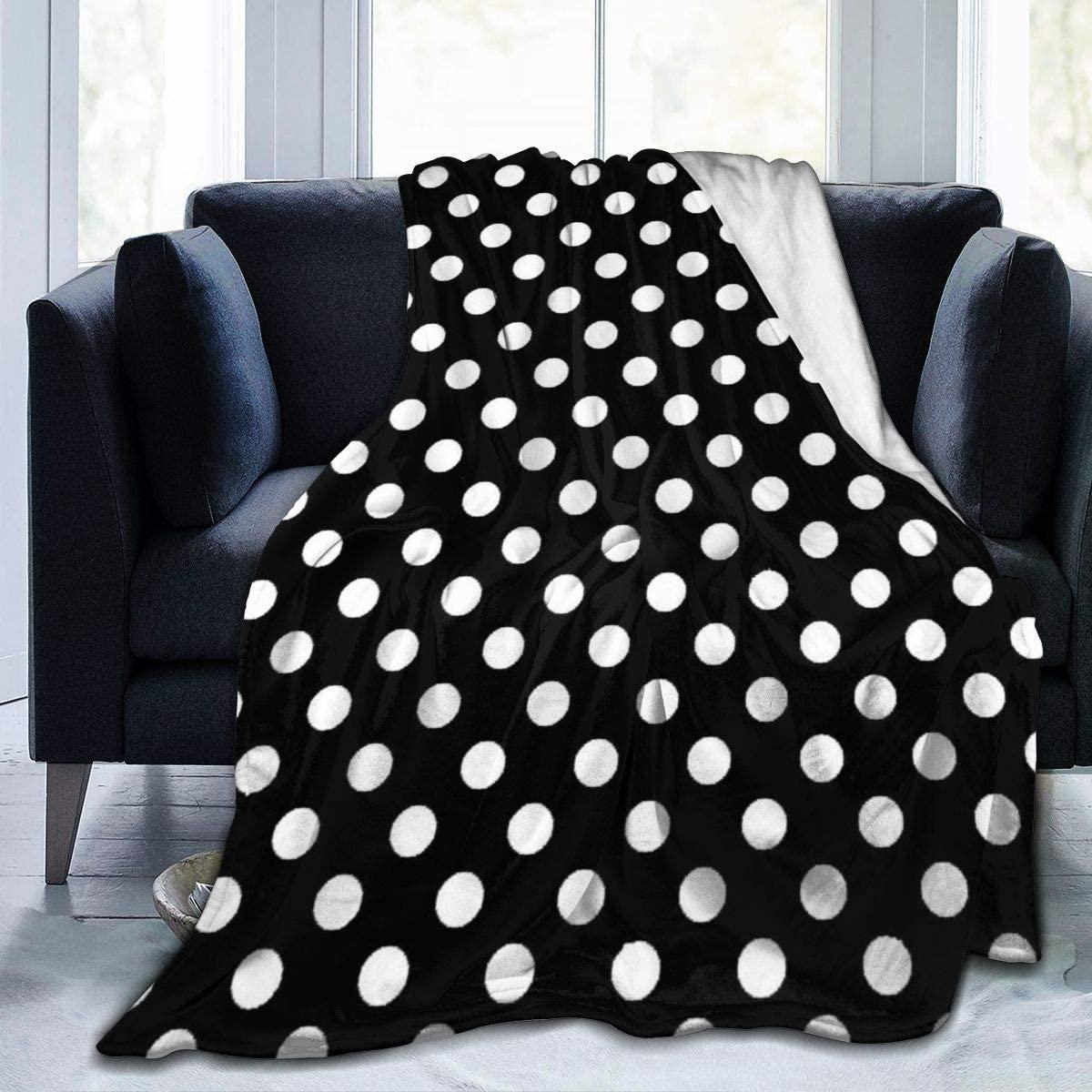 Micro Fleece Plush Soft Baby Blanket White Dots On Black Fluffy Warm Toddler Bed/Crib Blanket Lightweight Flannel Daycare Nap Kids Sleeping Tummy Time Throw Blanket Girls Boy Clearance Kid/Baby