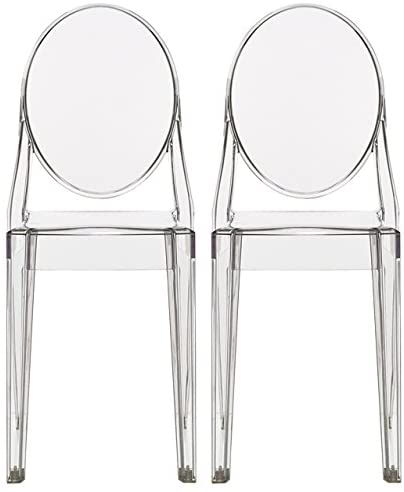 2xhome - Set of Two (2) - Clear - Victoria Style Ghost Side Chairs Dining Room Chairs - Victorian Accent Seat - Lounge No Arm Arms Armless Less Chairs Seats Higher Fine Modern Designer