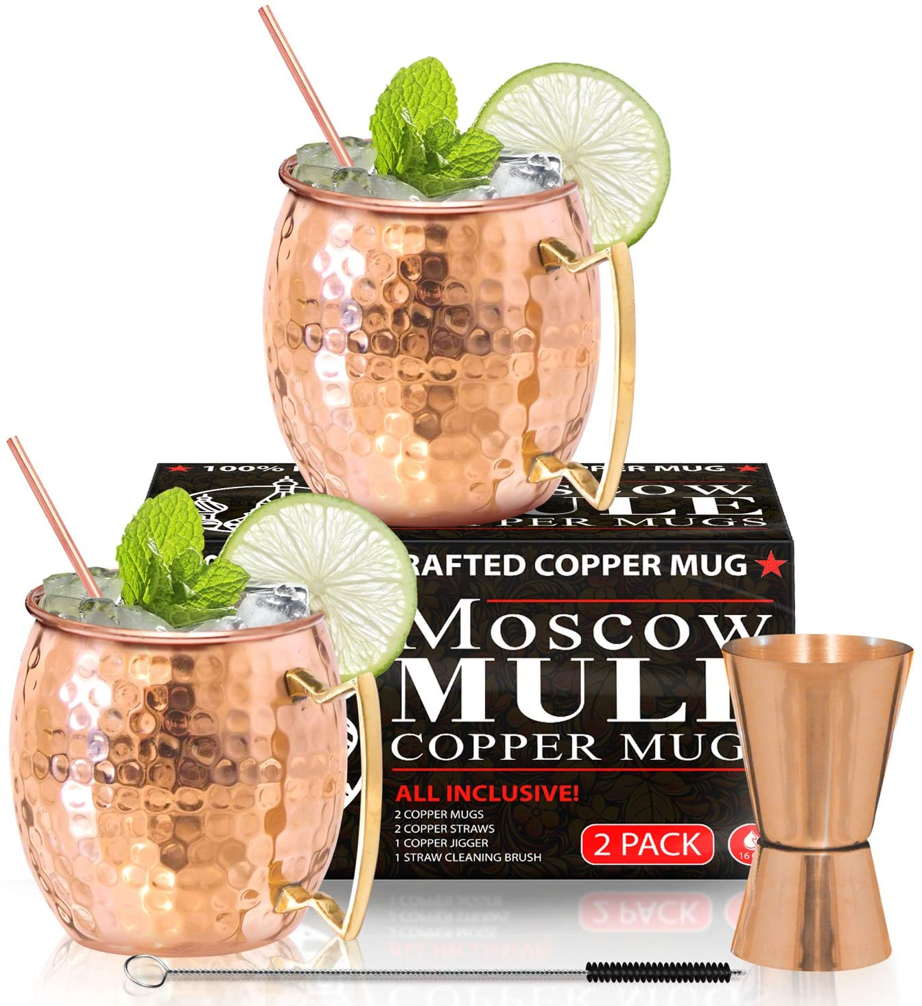 Moscow Mule Copper Mugs - Set of 2-100% HANDCRAFTED - Food Safe Pure Solid Copper Mugs - 16 oz Gift Set with BONUS: Highest Quality Cocktail Copper Straws, Straw Cleaning Brush and Jigger!
