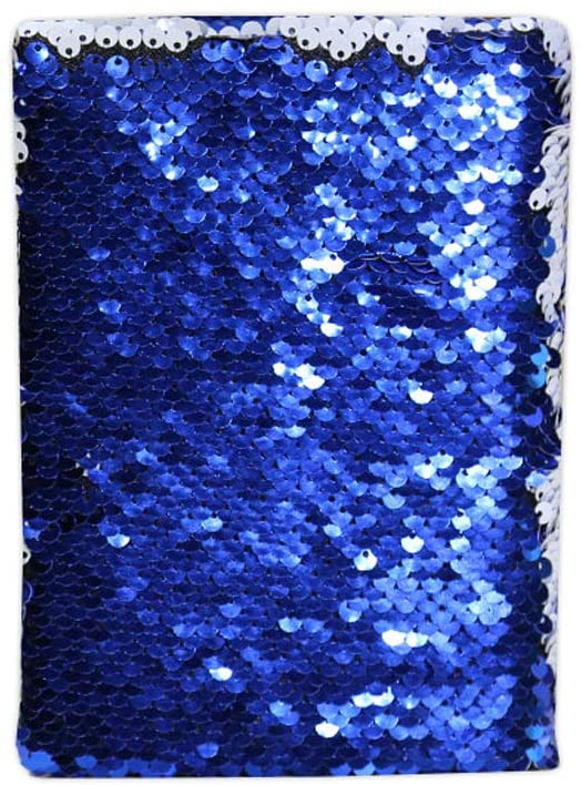 H-E 10pcs 16 x 11.5cm Sublimation Blank Mermaid Reversible Magic Sequin Diary Notebook Office School Notebook for Sublimation Printing - Blue
