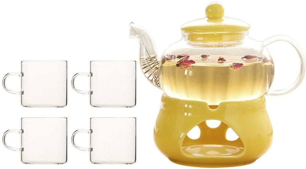 KFDQ Household Glass Kettle,Teapot Kettle High Borosilicate Glass Tea Set Flower Teapot Household Tea Cup Teapot Tea Pot Ceramic Base Tea Compartment (Teapot 600Ml Teacup 130Ml),Four Cuos