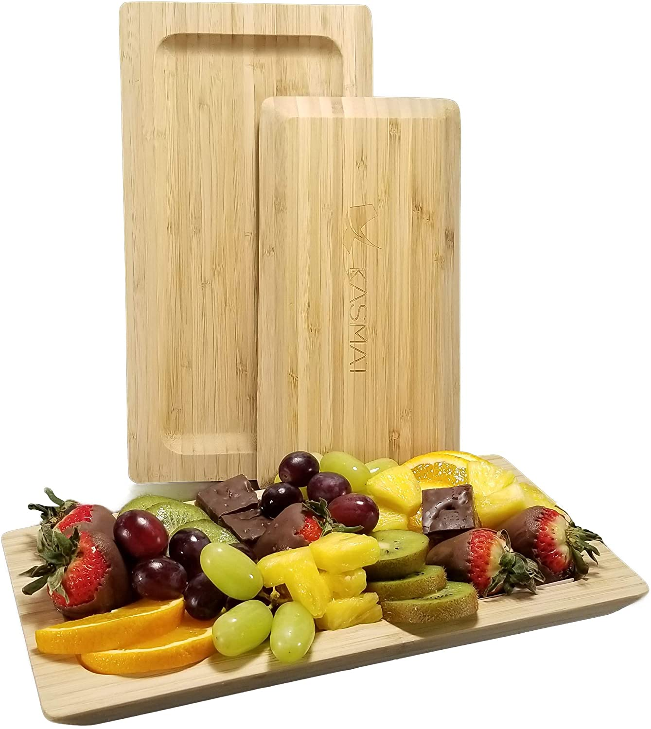 Bamboo Platter   Set of 2 Bamboo Serving Platters – Large & Small Natural Appetizer Trays. Versatile Eco-Friendly Plates for Fruit, Cheese, Crackers, Charcuterie that Enhance Any Occasion -By KASMAT