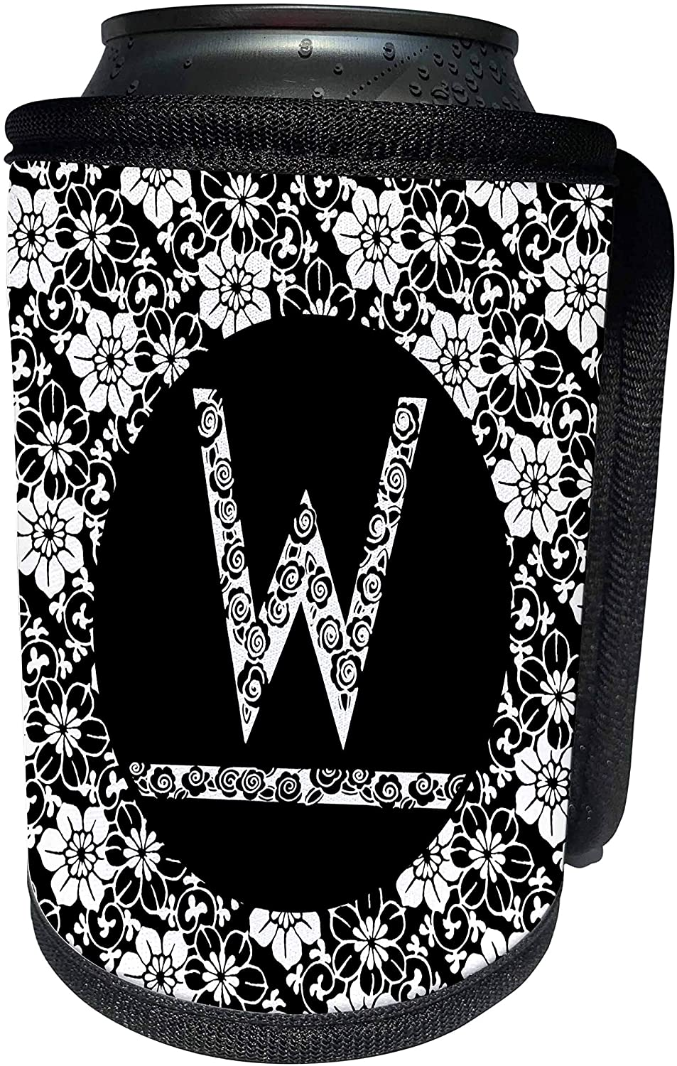 3dRose Russ Billington Monograms - Pretty Black and White Floral Monogram Letter W - Can Cooler Bottle Wrap (cc_241330_1)
