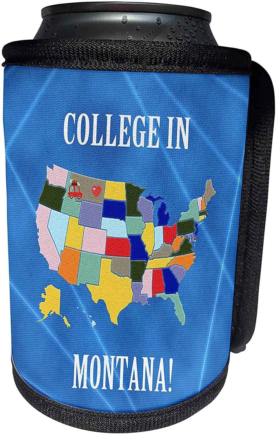 3dRose Beverly Turner College in - United States Map, College in Montana, Heart, Car with Luggage - Can Cooler Bottle Wrap (cc_218350_1)