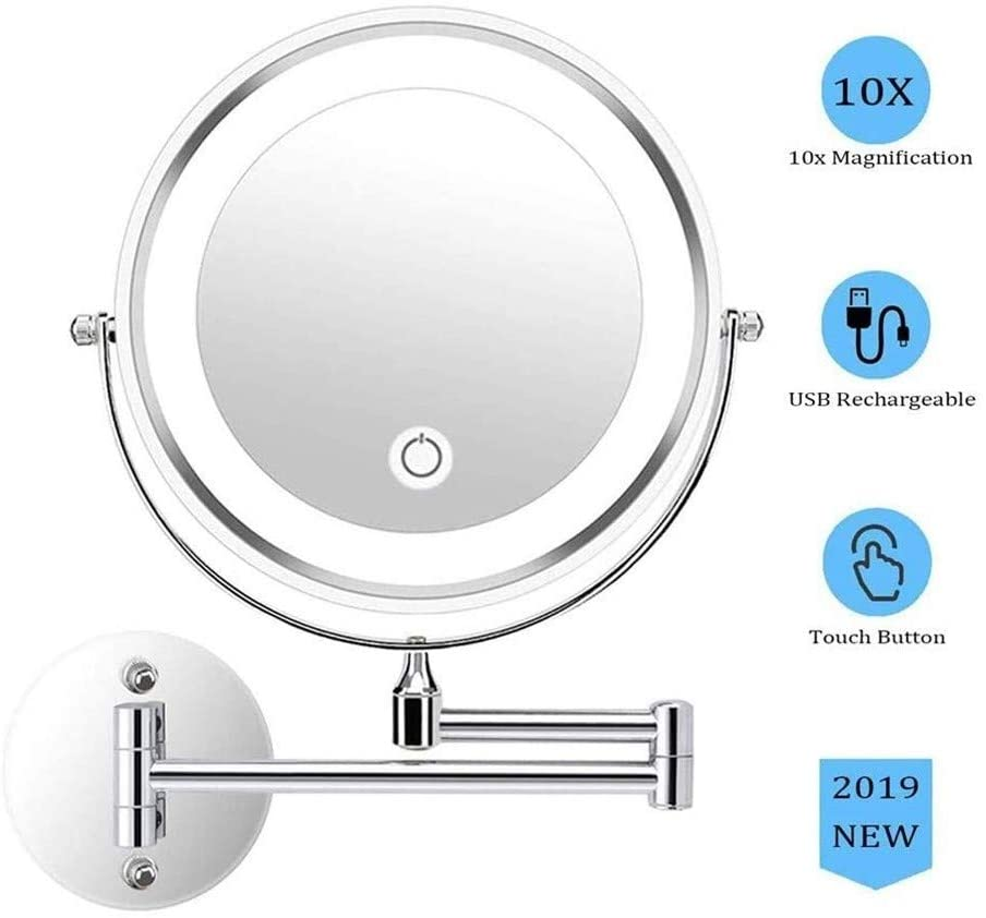 Wall Mounted Vanity Makeup Mirror LED Lighted Shaving Mirror Magnifying 10x Double-Sided Round Swivel Extendable Cosmetic Mirror Touch Screen (Color : Silver)