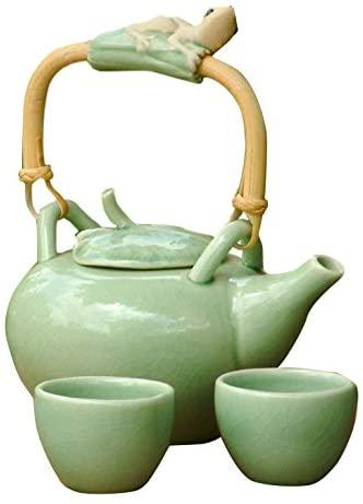NOVICA Decorative Ceramic Tea Set, Green, 2 Oz, 'Frog Serenade' (Set For 2)