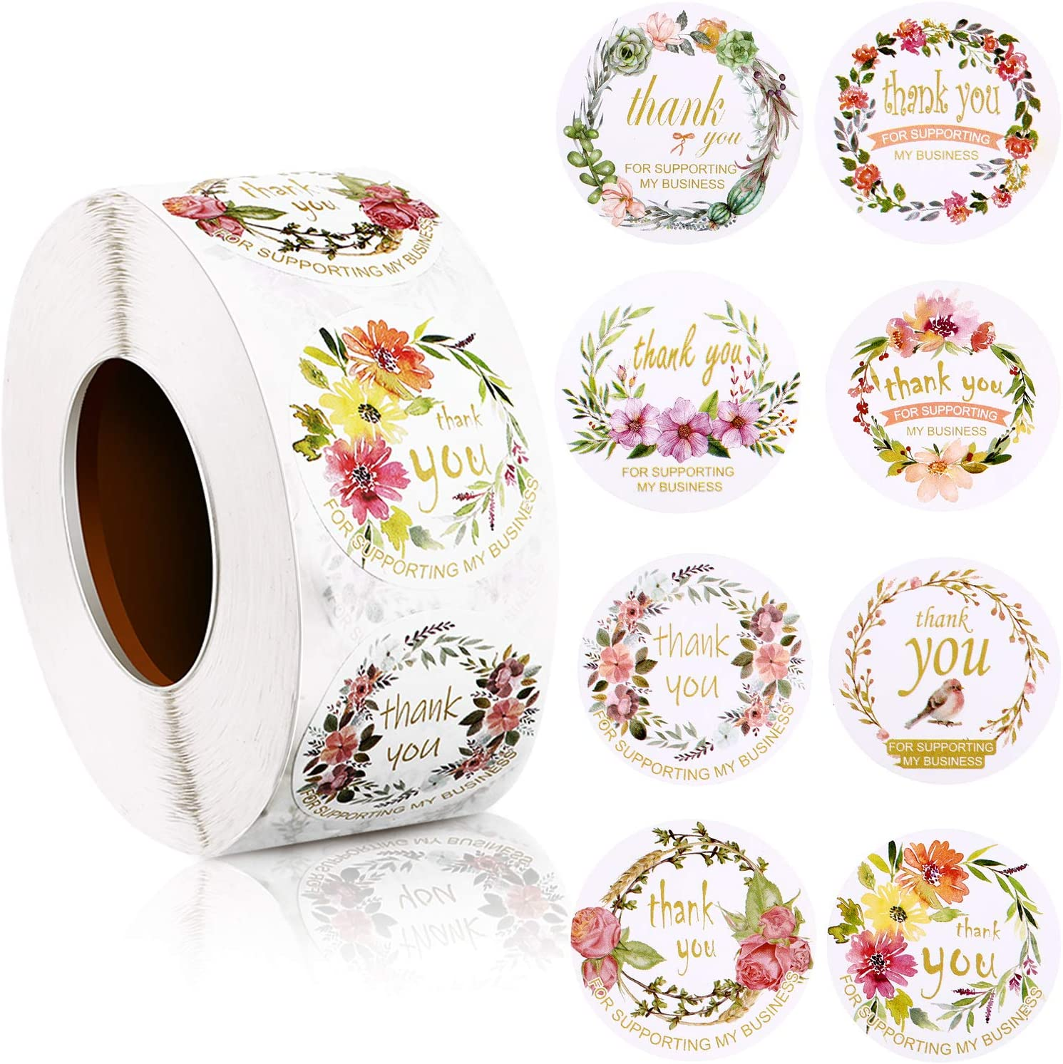 1000 Pieces Thank You for Supporting My Business Label Stickers 1.5 Inch Round Floral Business Label Decals Adhesive Flower Printed Seal Stickers for Bakeries Business Owner Handmade Good