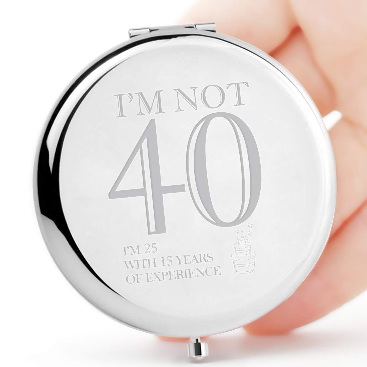 Fun 40th Birthday Gifts for Women-I'm not 40- Purse Pocket Makeup Mirror Silver